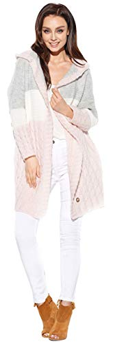 Lemoniade hochwertiger, modischer Cardigan mit Kapuze - Strickjacke Damen Jacke lang Mantel Strickmantel (20200152 LS288 puderrosa)