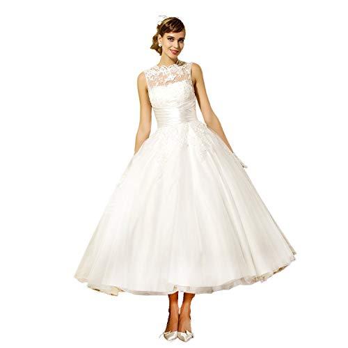 YASIOU Hochzeitskleid Damen A Linie Kurz Spitze Tüll Standesamt Vintage Brautkleider Knielang Hochzeitskleider Rückenfrei