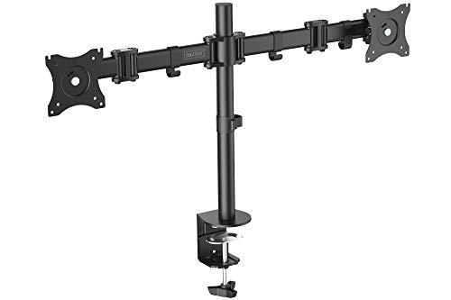 DIGITUS Monitor-Halterung - Tischklemme - 2 Monitore - Bis 27 Zoll - Bis 2x 8 kg - VESA 75x75, 100x100 - Schwarz