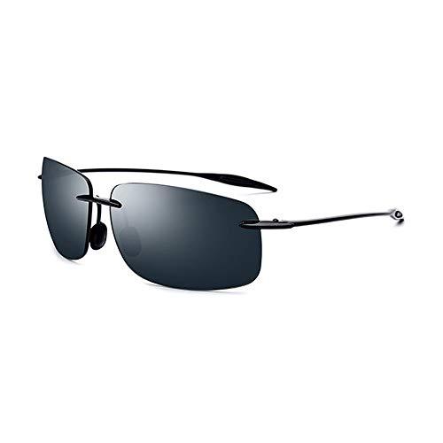 Faus Koco Gafas de sol ultraligeras para hombre sin fronteras TR90 cuadradas con protección UV400 (color verde oscuro)