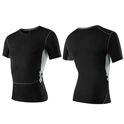 B/H Running Tops Camiseta de Entrenamiento Corta,Ropa Deportiva de Manga Corta, Ropa de Secado rápido con Fondo de Baloncesto-Gray_M