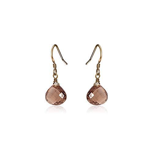 Smoky Quartz Teardrop Earrings in Bronze