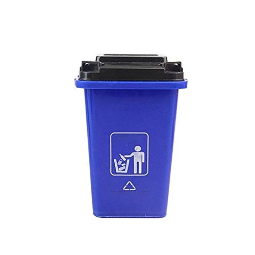 CHENClajt Papelera Cocina Bote de Basura, Mini Escritorio ordenado Pluma contenedor de Basura con Tapa de Escritorio Titular de Basura La Basura (Color : Blue)