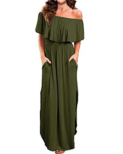 Kidsform Sommerkleider Damen Maxikleid Off Shoulder Bandeau Langes Kleid Boho Kleider Casual Strandkleider Cocktail Abendkleid XL