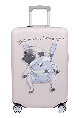 【こもれび屋】スーツケース 保護 カバー かわいい イヌ ネコ デニム トランクケース キャリーケース 伸縮 旅行 OD13 (犬・ パグ(アイボリー), M)