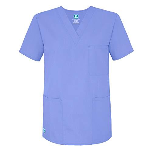Adar Universal Unisex Pflegebekleidung - Medizinische Tunika mit V-Ausschnitt - 601 - Ceil Blue - M