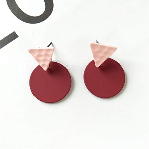 FEARRIN Pendientes de Moda de diseño único, Elegantetriángulo de Goma, Pendientes Redondos de Dos Tonos, para Mujer, joyería Redstud