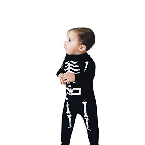 Lange mouwen Baby Kleding Katoen 2-24 Maanden Baby Halloween Kostuums Unisex Peuter Kinderen Baby Skeleton Halloween Fancy Jurk Bone Tops+Broek Halloween Kleding Outfits Set Kostuums O-hals