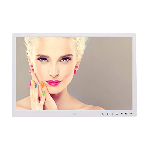 MJLING HD 1080P 17 Zoll Bilderrahmen Digitaler Touchscreen, HDMI-Taste E-Alben, Musik-Foto-Fernsteuerungsuhr, 1440 * 900,Weiß