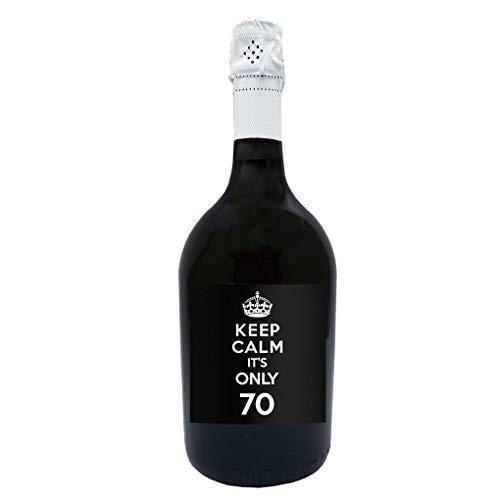 Bottiglia di Prosecco Personalizzato DOC Spumante Extra Dry - Keep Calm it s only. - Idea Regalo per compleanno e idea regalo per anniversario (0,75L, Nero)