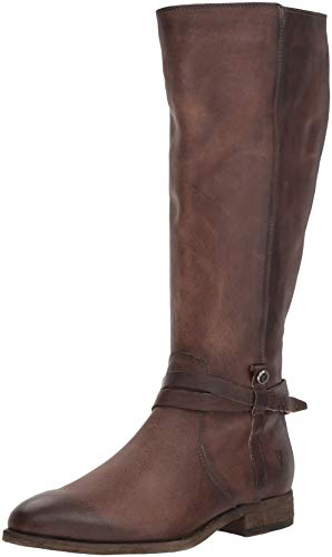 Frye Womens Melissa Belted Tall Knee High Boot, Stone Extended Calf, 6