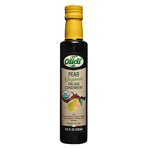 Olidi Pear Flavored Balsamic Vinegar of Modena 8.5 oz (Pack of 2) Perfect for Salad Dressing, Pasta Salad, Ice Cream and Cocktails