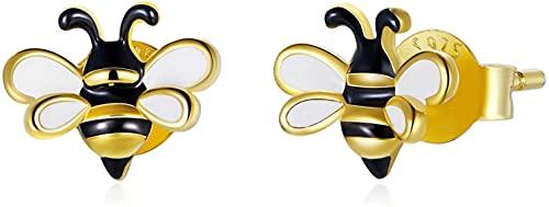 X&Z-XAOY Orecchini in Argento Sterling 925 da Donna, Nicchia Ipoallergenico Design Insetto Vero Oro Placcato Oro Placcato Oro Orecchini Ape, Regalo per Le Donne, Ragazze