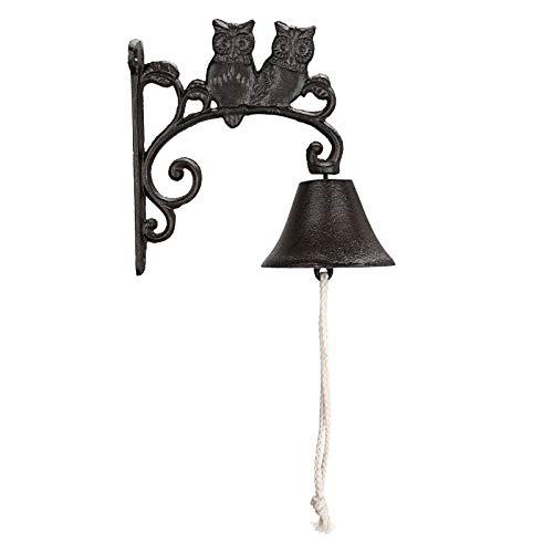 SUMTREE - Timbre de pared con campana de entrada de hierro fundido rústico para puerta, casa, jardín (búho)