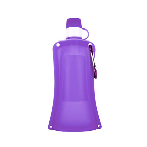 HHORD 10 Botella De Agua Reutilizable Plegable PC Cantina Plegable Beber Botella De Agua con Clip para El Ciclismo, Senderismo Viajes,A
