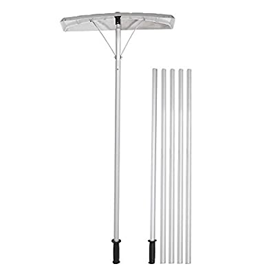 TUFFIOM Extendable Aluminum Snow Rake, 5ft-20ft Sturdy Lightweight Snow Removal Tool with Wide Blade & 5-Section Tubes & TPE Anti-Skid Handle, Suitable for Clearing Roof Vehicle Snow, Wet Leaves,Dribs