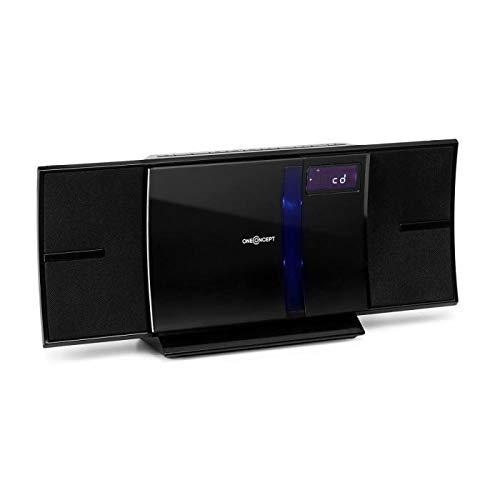 OneConcept V-16 BT Black Edition - Chaîne stéréo compacte, Lecteur CD Vertical intégré Compatible MP3, Radio FM, Port USB, Montage Mural Possible, Noir