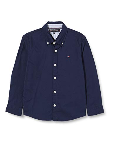 Tommy Hilfiger Jungen Twill Flagblock Shirt L/s Hemd, Twilight Navy, 7