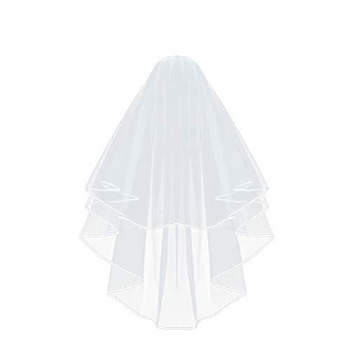 ZZBO Brautschleier Tüll Elegent Hochzeit Schleier Satinkante mit Kamm JGA Deko Accessoires(Weiß) 80cm/31.5