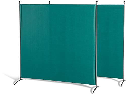 GRASEKAMP Qualität seit 1972 Doppelpack Stellwand 180x180 cm - grün - Paravent Raumteiler Trennwand Sichtschutz