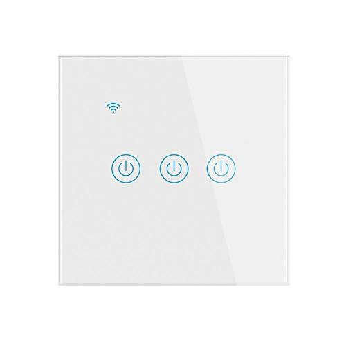 Interruptor inteligente, interruptor de luz WiFi 1/2/3/4, interruptor de luz inteligente, compatible con Alexa y Google Home, control remoto de aplicación, función de temporizador, no requiere neutro.