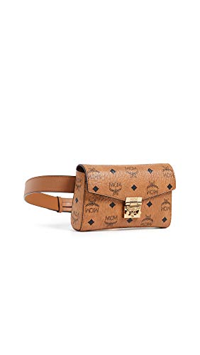 The day is yours with the MCM™ Patricia Visetos Small Belt Bag. Strong visetos coated canvas belt bag. Top fold-over flap with push-lock hardware closure engraved with brand name logo. Front exterior slide compartment. Adjustable waist strap with bur...