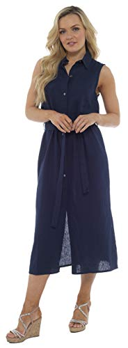 CityComfort Damen Sommer Leinen ärmelloses langes Hemdkleid | Knopf durch Tunika mit passendem Gürtel | Petite Bis Plus Kleider Größe Damenmode Erhältlich (40, Marine)