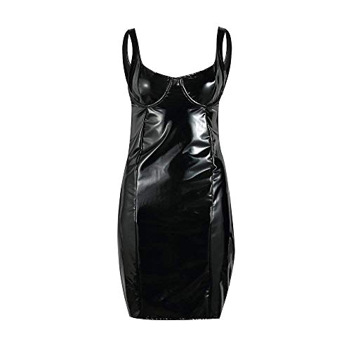 PANZET Sexy Frau Kleid, Sexy Frau Enges Kleid Latex Dessous Lederkleid,Schwarz,Small