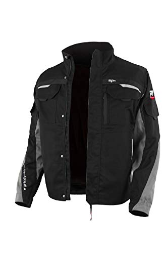 Grizzlyskin Arbeitsjacke Iron Schwarz/Grau 54-56 – Unisex Workwear für Damen & Herren, Cordura-Schutzjacke mit vielen Taschen, Outdoor Jacke mit Reflexbiesen