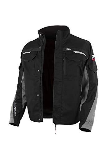 Grizzlyskin Arbeitsjacke Iron Schwarz/Grau 50-52 – Unisex Workwear für Damen & Herren, Cordura-Schutzjacke mit vielen Taschen, Outdoor Jacke mit Reflexbiesen