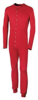 Duofold Men s Mid Weight Double Layer Thermal Union Suit Red Large