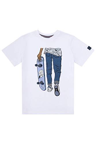 Fila Boys Classic Logo Short Sleeve Tee Shirt Top (X-Large, White Skater)