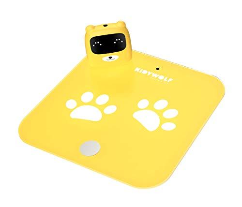 Báscula de Baño Digital para jóvenes y mayores que le permite medirse y pesarse. Ideal para familias con niños. (Amarillo)