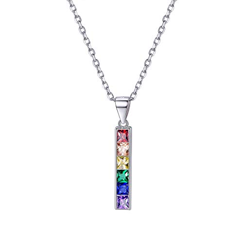 925 Sterling Silver LGBT Pride Necklace Love Wins Equality Jewlery Platinum Plated Cubic Zirconia Crytal Bisexual Bi Lesbian Gay Flag Pendant Necklaces for Girls Women