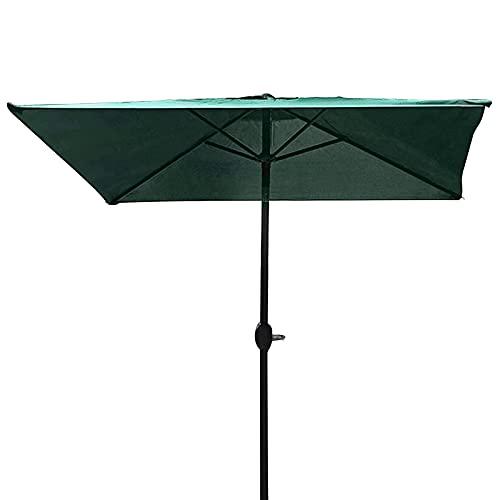 Sombrilla Sombrilla Cuadrado Verde Oscuro de 2 M, Sombrilla de Mesa de Mercado Al Aire Libre con Botón de Inclinación y Manivela, Toldo de Sombra para Piscina/Jardín/Patio/Porche/Playa