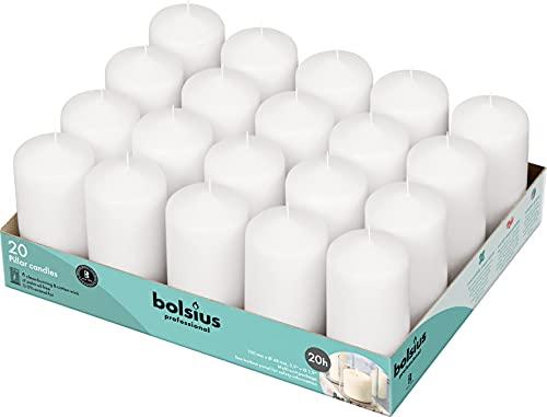 Bolsius Candele basiche per Decorazione, Cera, Bianco, Dimensione Cero Singolo: h 9.8 cm Ø4.8cm, 20 unità