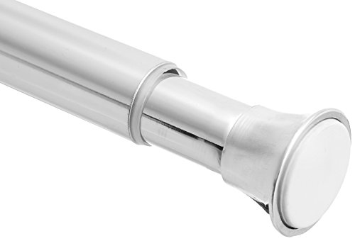 """AmazonBasics Rust Resistant Easy to Install Tension Shower Doorway Curtain Rod, 78-108"""", Chrome"""