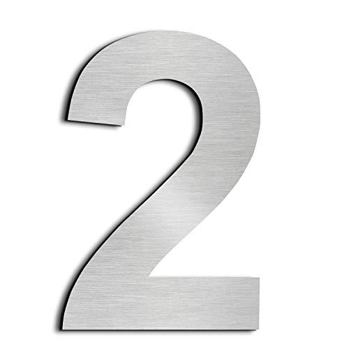 Nanly Número de casa moderna-10.2Centímetros/4 pulgadas-Acero inoxidable, Apariencia flotante, Fácil de instalar y hecho de acero inoxidable sólido 304 (Número 2)