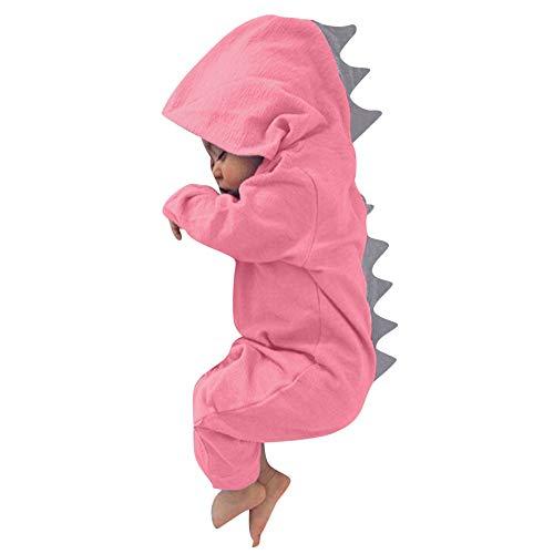 Zhen+ Unisex Baby Overall für 0-24Monate Junge Mädchen Jumpsuit Strampler Baumwolle Dinosaurier Bodysuit Säugling Spielanzug Schlafanzug Outfit (Rosa, 9Monate)
