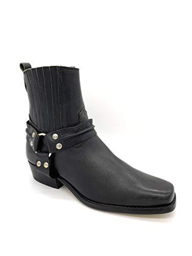 Joe Sanchez Buckled Ankle Cowboy Biker Boots Schuhe (41 EU, Schwarz)