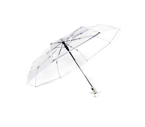 Montagsliebe® Taschenschirm transparent, inkl. Hülle, Regenschirm durchsichtig, Hochzeit, stabil, faltbar, klein