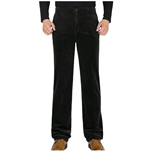 Xmiral Anzughose Herren Einfarbig Reißverschluss Gerade Hosen Große Größe Beiläufig Kurz Plüsch Elastizität Lange Hose(Kaffee,29)
