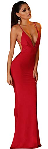 Women Sexy Halter Bodycon Prom Homecomming Formal Strap Maxi Cocktail Dress Red S