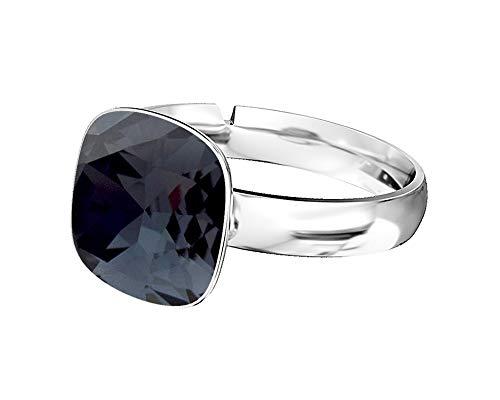 Crystals & Stones 925 anello d' argento *Square* *Molti colori* Swarovski Elements - Anello da Donna in Argento Sterling 925, misura regolabile