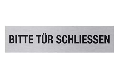 """Metafranc Klebeschild """"Bitte Tür schließen"""" - 160 x 40 mm - Aus Aluminium - In moderner Edelstahl-Optik - Selbstklebende Rückseite / Beschilderung / Infoschild / Gewerbekennzeichnung / 507060"""