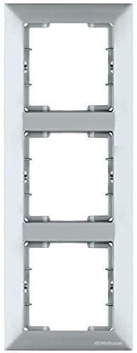Marco para 3 enchufes, marco de 3 enchufes, vertical, color plateado y plateado, serie de interruptores Candela