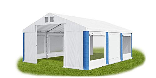 Das Company Party Tent 3 x 6 m Storage Tent Universal Tent Mosquito Net Waterproof White/Blue Tent 560 g/m² PVC Tarpaulin High-Quality Garden Tent Summer ISDM