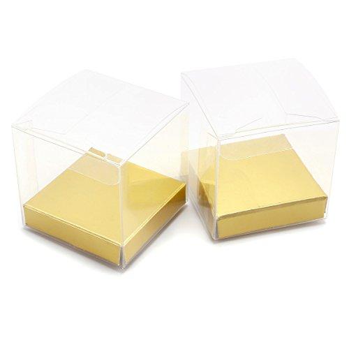 50 Stück Geschenkschachtel Geschenkbox Klein, Geschenkverpackungen Gastgeschenk Transparent Box 5 * 5 * 5cm, Süßigkeiten Schmuck Schachtel für Hochzeit Geburtstag Party Gartenparty Taufe