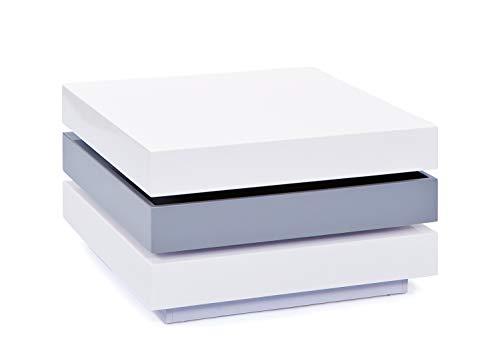 Links 20800925 Trilogie Table Basse Pivotante blanc/gris 70 x 70 x 39 cm