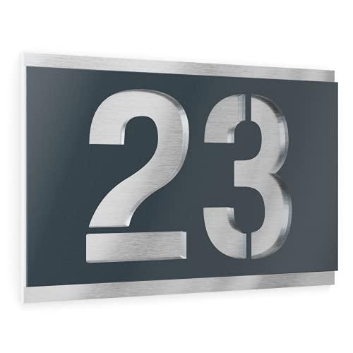 Graviers Design Número de casa de acero inoxidable V2A, 215 x 150 mm, color antracita RAL 7016, resistente a la intemperie, inoxidable, personalizable según el número deseado, fabricado en Alemania